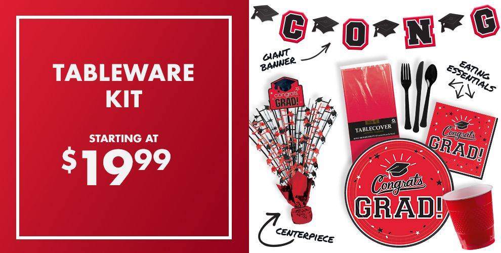 Patterned Tableware 50% off MSRP — Red Congrats Grad Graduation Party Supplies