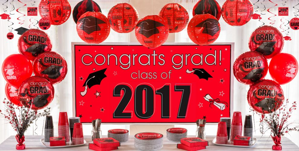 Congrats Grad Red Graduation Party Supplies — Congrats Grad 2017