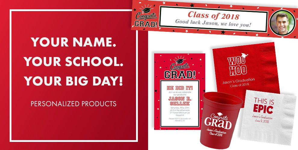 Congrats Grad Red Graduation Party Supplies