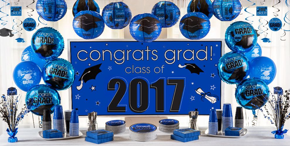 Royal Blue Congrats Grad Graduation Party Supplies