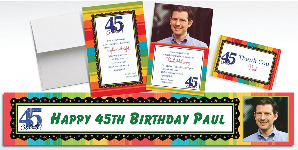 45th Birthday Invitations & Banners