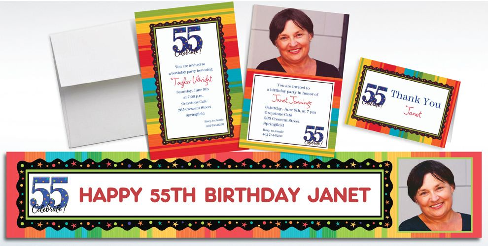 55th Birthday Invitations & Banners