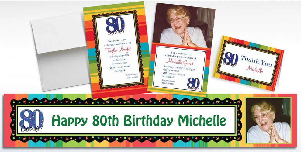 80th Birthday Invitations & Banners