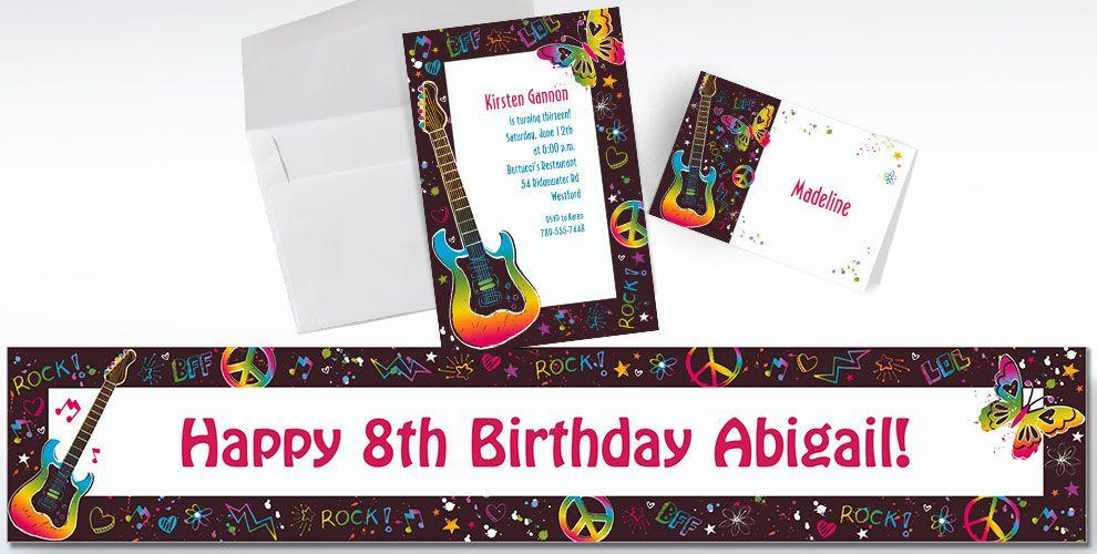 Neon Birthday Invitations & Banners