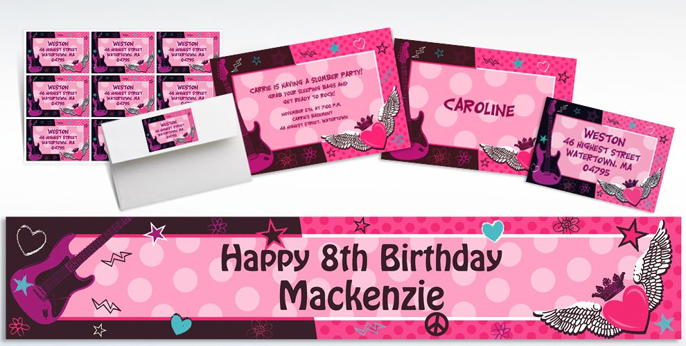 Rocker Girl Invitations & Banners