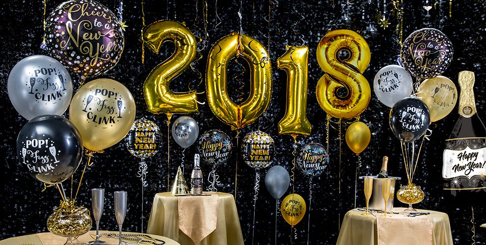 Black, Gold & Silver New Years Eve Balloons #1