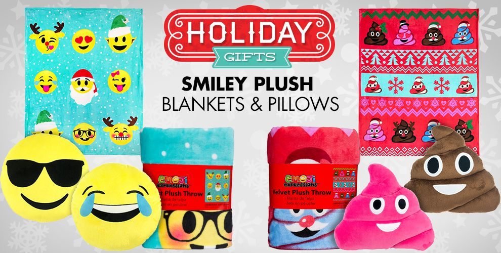 Holiday Gifts Smiley Plush Blankets & Pillows