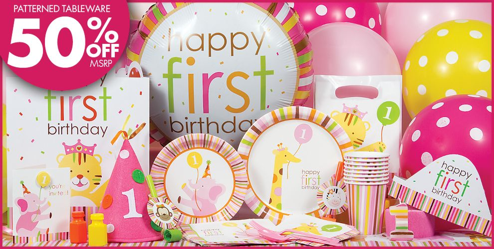 Sweet At One Girls 1st Birthday Party Supplies
