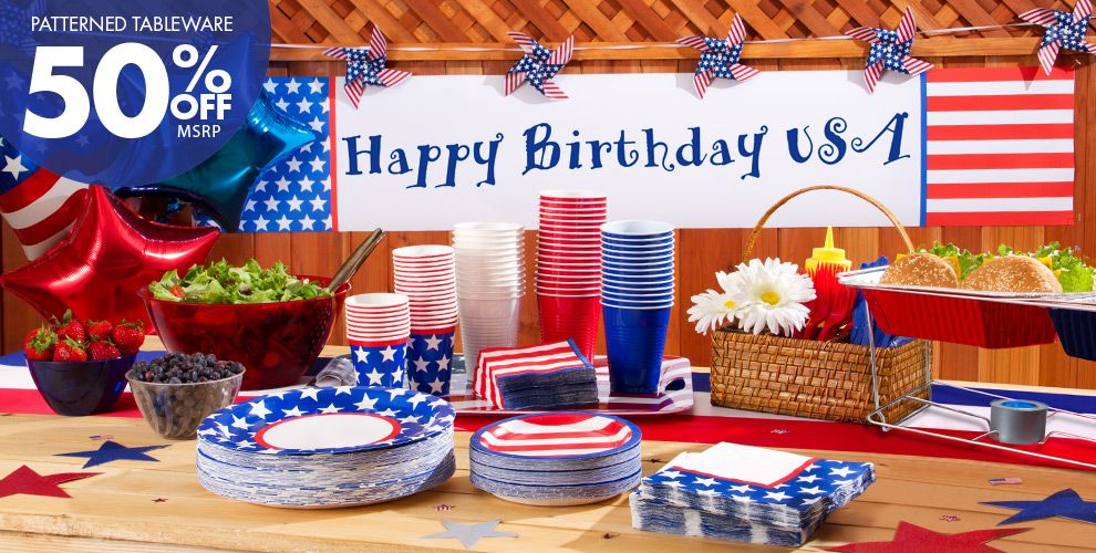 Patterned Tableware 50% Off MSRP — Red, White & Blue Stars Patriotic Party Suplies