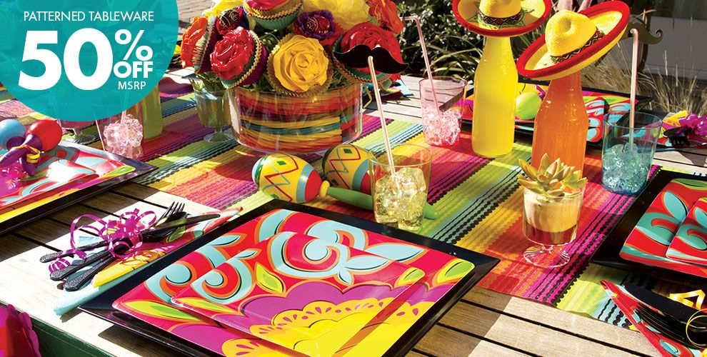Patterned Tableware 50% off MSRP — Caliente Fiesta Theme Party Supplies