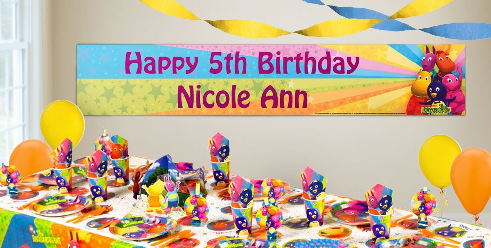 Custom backyardigans birthday banners party city for Backyardigans party decoration