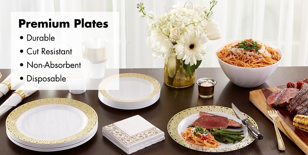 White Gold Premium Tableware — Durable, Cut Resistant, Non-Absorbent, & Disposable