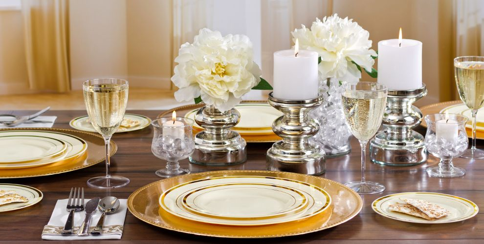cream gold premium tableware party city