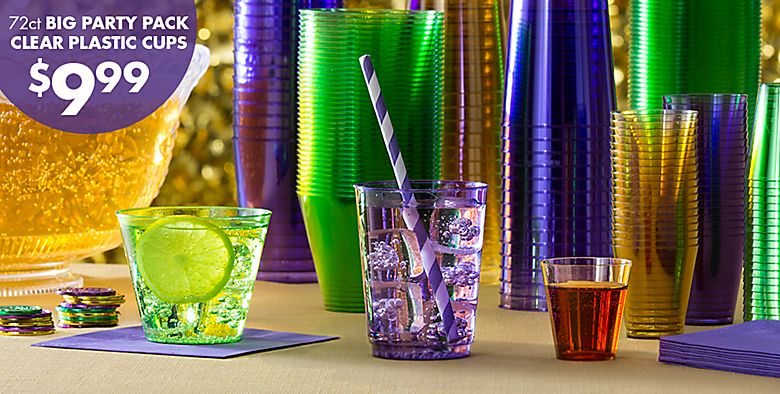 Mardi Gras Drinkware 72ct Big Party Pack Clear Plastic Cups $9.99