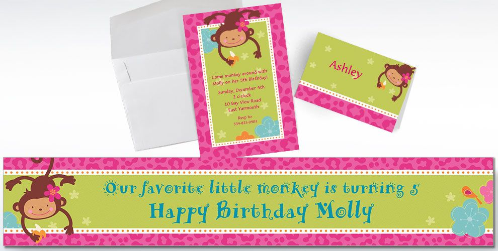Monkey Love Custom Invitations & Thank You Notes