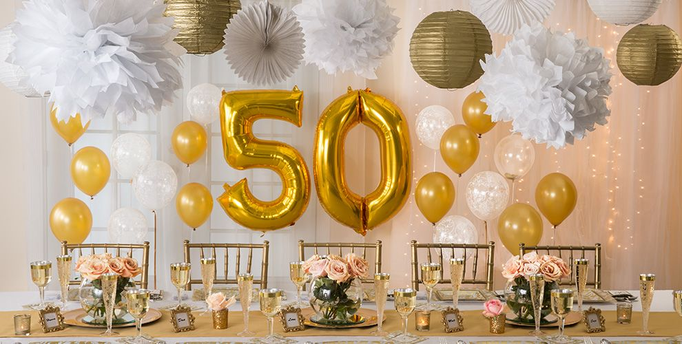 Golden 50th wedding anniversary party supplies 50th for Anniversary decoration at home
