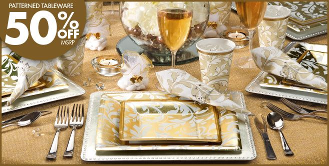 Gold Wedding Party Supplies - 50th Anniversary