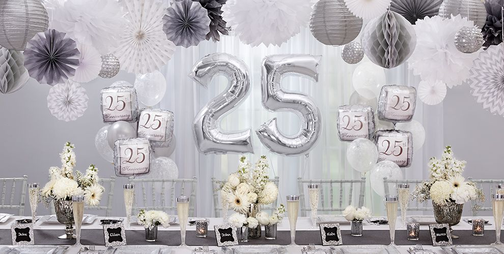Silver 25th Wedding Anniversary Party Supplies - 25th Anniversary ...