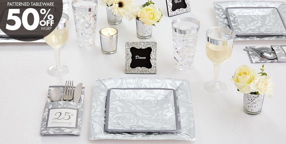 Silver Wedding Party Supplies - 25th Anniversary