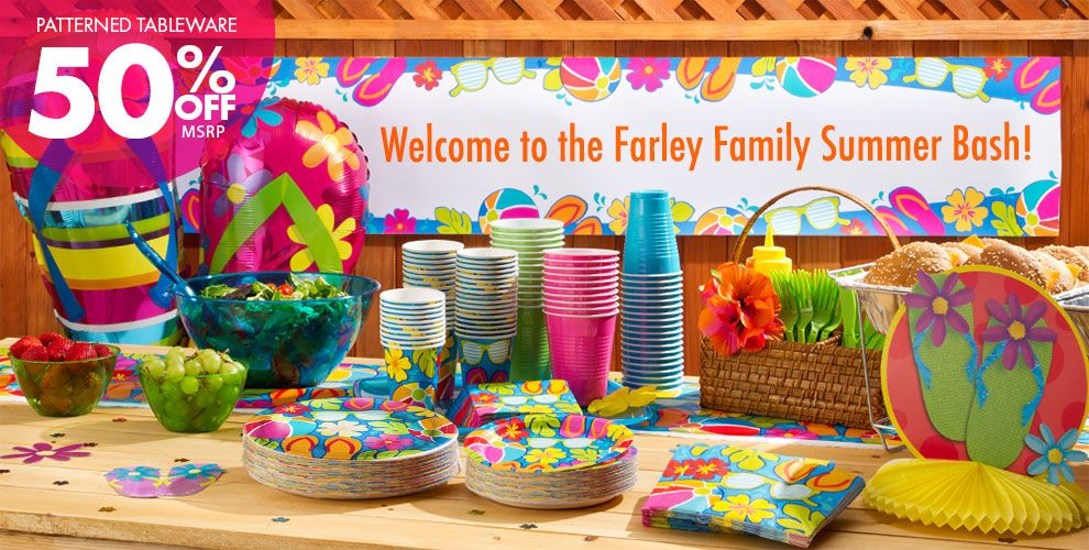 Summer Splash Party Supplies – Patterned Tableware 50% off MSRP