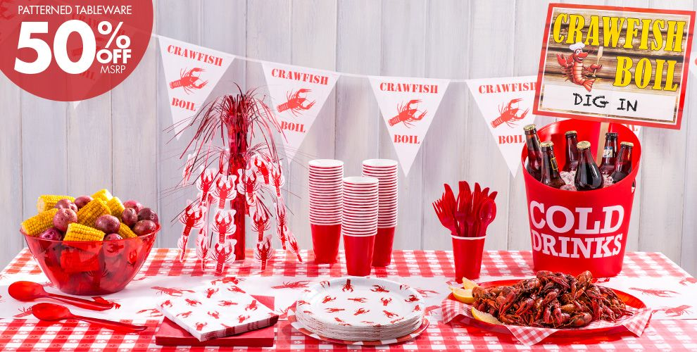 Crawfish Boil Party Supplies – Patterned Tableware 50% off MSRP