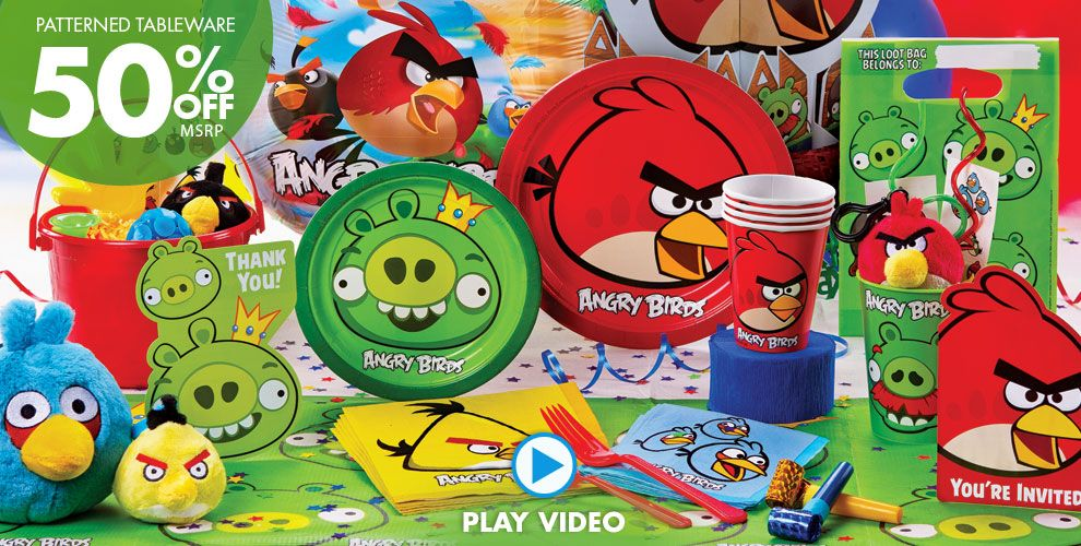 Angry birds party supplies boys party themes boys for Angry birds party decoration ideas