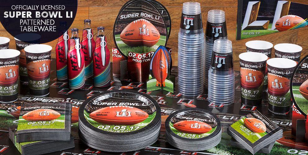 Officially Licensed Superbowl LI Patterned Tableware starting at 99¢