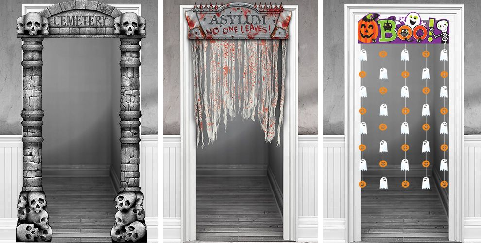 Halloween Door Decorations  Halloween Door Curtains  ~ 111043_Halloween Zaag Door Hoofd
