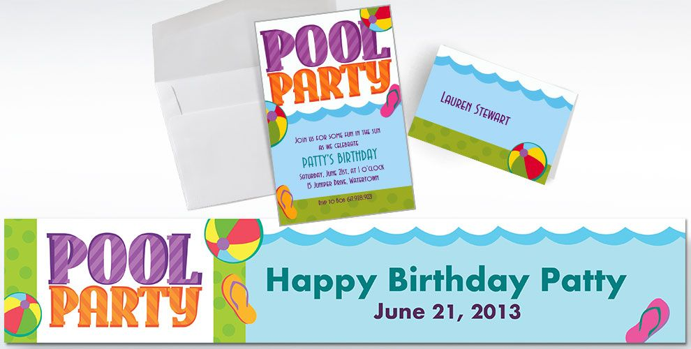 Pool Party Invitations & Thank Yous