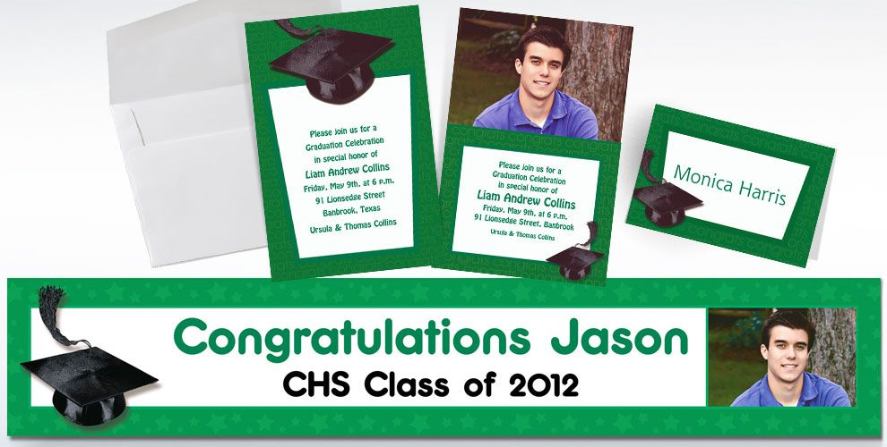 Custom Green Graduation Invitations