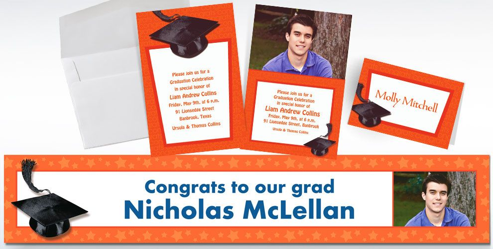 Custom Orange Graduation Invitations