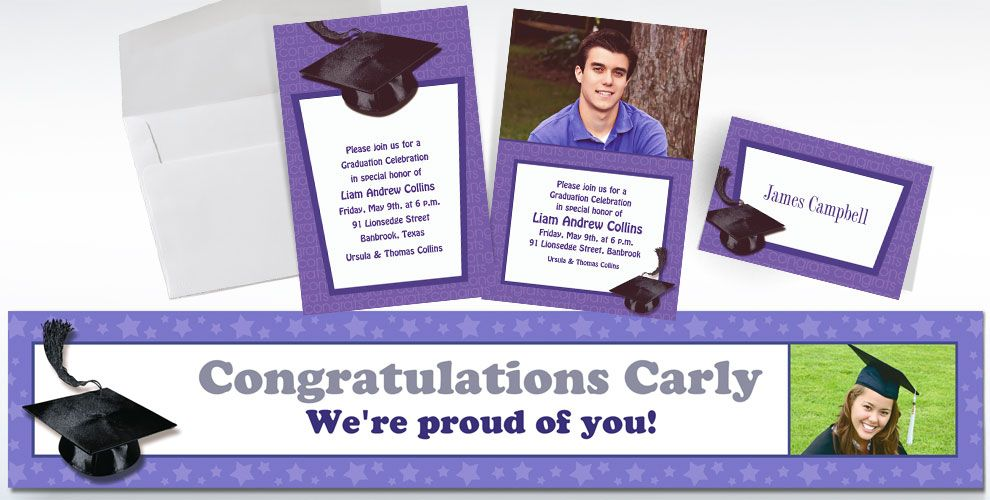 Custom Purple Graduation Invitations