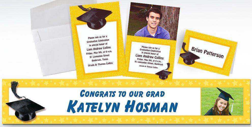 Custom Yellow Graduation Invitations