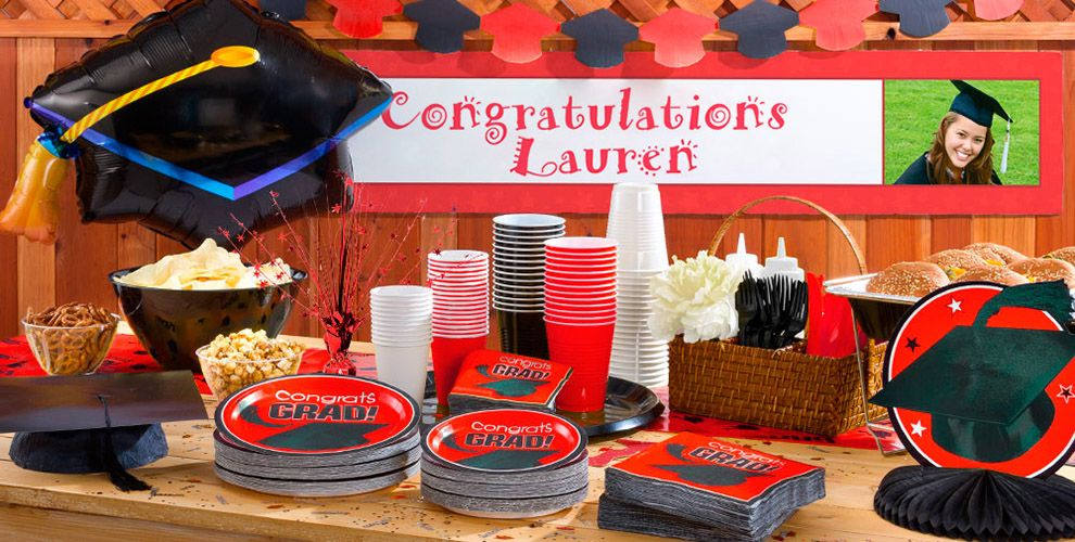Custom Red Graduation Banners   Party City GdBBRFGB