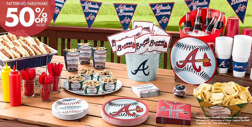 MLB Atlanta Braves Party Supplies 50% off Patterned Tableware MSRP