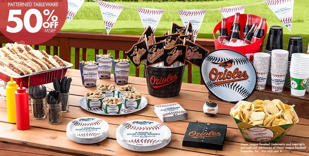 MLB Baltimore Orioles Party Supplies 50% off Patterned Tableware MSRP