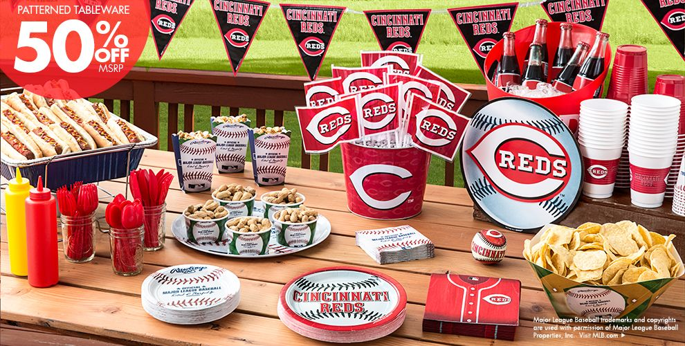 MLB Cincinnati Reds Party Supplies 50% off Patterned Tableware MSRP