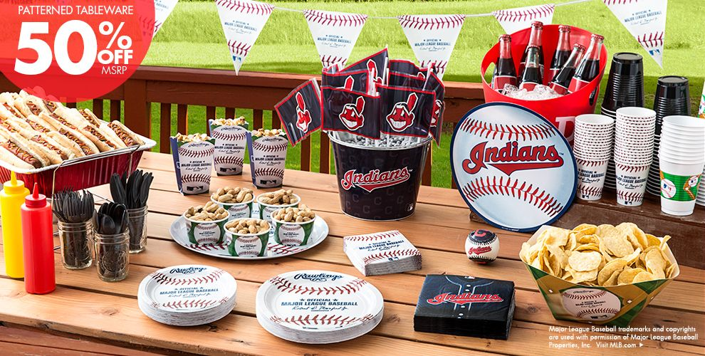 MLB Cleveland Indians Party Supplies 50% off Patterned Tableware MSRP