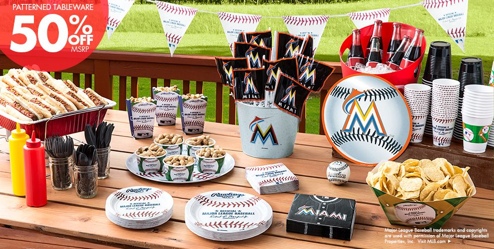 MLB Miami Marlins Party Supplies 50% off Patterned Tableware MSRP