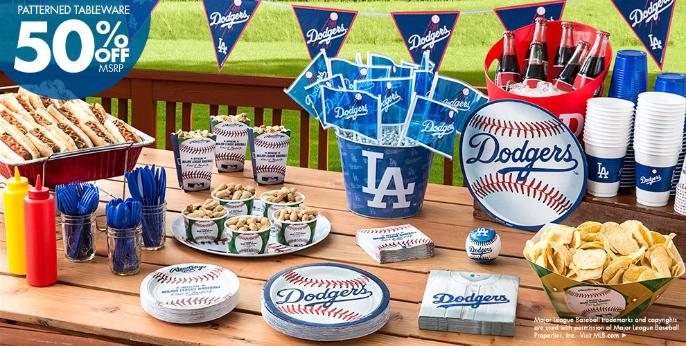 MLB Los Angeles Dodgers Party Supplies 50% off Patterned Tableware MSRP