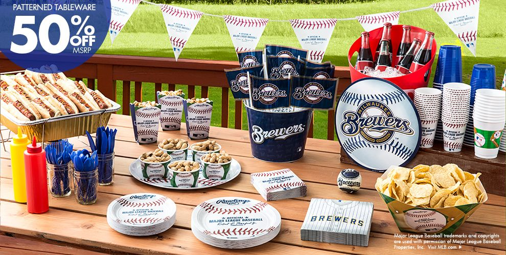 Patterned Tableware 50% off MSRP — MLB Milwaukee Brewers Party Supplies