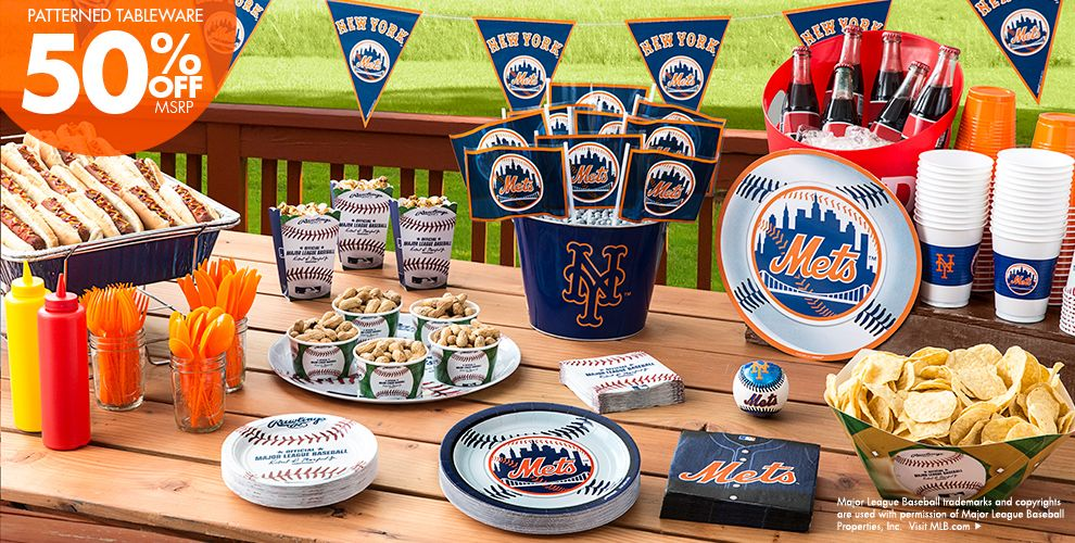 Patterned Tableware 50% off MSRP — MLB New York Mets Party Supplies