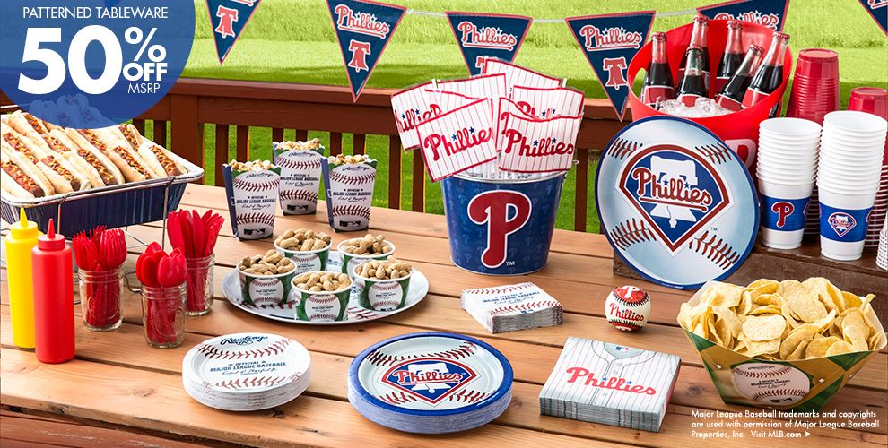 Patterned Tableware 50% off MSRP — MLB Philadelphia Phillies Party Supplies