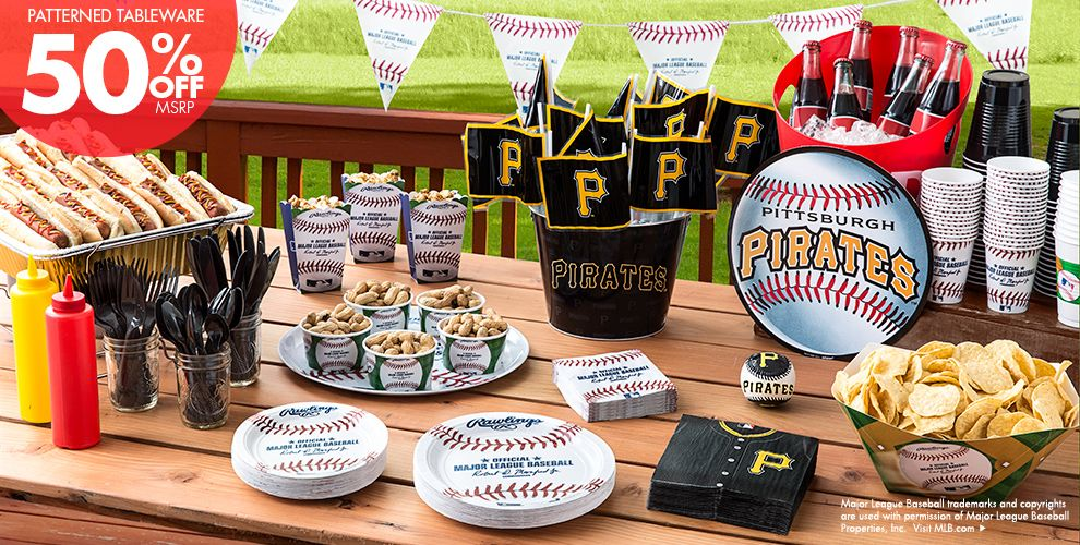 Patterned Tableware 50% off MSRP — MLB Pittsburgh Pirates Party Supplies
