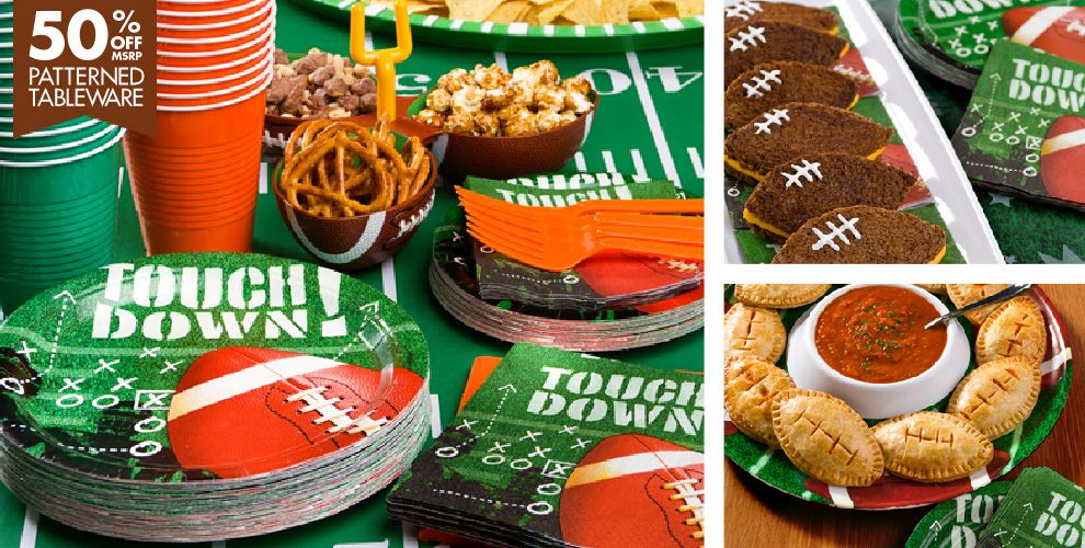 Football Frenzy Party Supplies – 50% off Patterned Tableware MSRP