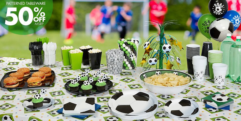 Soccer Party Supplies 50% off Patterned Tableware MSRP