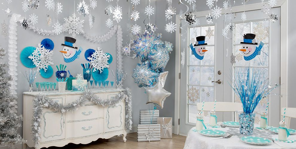 snowflakes snowman theme party party city. Black Bedroom Furniture Sets. Home Design Ideas