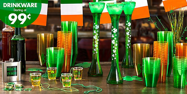 St. Patrick's Day Drinkware starting at 99¢