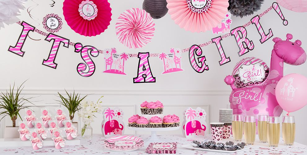 Pink safari baby shower party supplies party city for Baby shower decoration kits girl