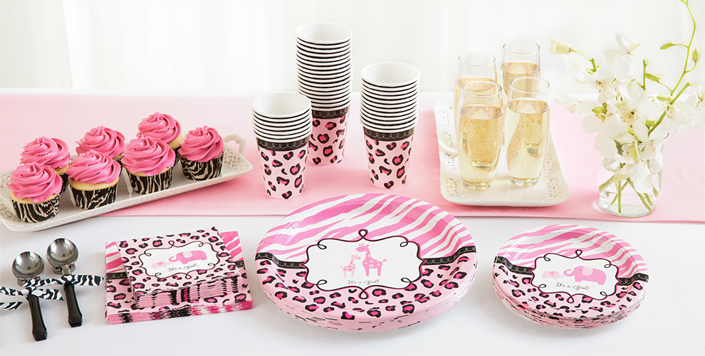 Patterned Tableware 50% off MSRP — Pink Safari Baby Shower Party Supplies